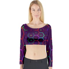 Color Bee Hive Pattern Long Sleeve Crop Top by Amaryn4rt