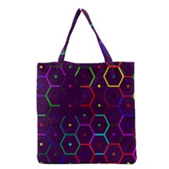 Color Bee Hive Pattern Grocery Tote Bag by Amaryn4rt