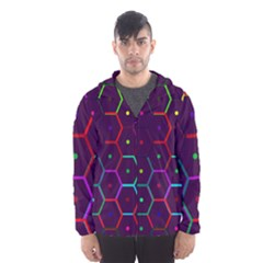 Color Bee Hive Pattern Hooded Wind Breaker (men) by Amaryn4rt