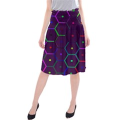 Color Bee Hive Pattern Midi Beach Skirt by Amaryn4rt