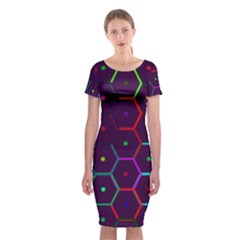 Color Bee Hive Pattern Classic Short Sleeve Midi Dress by Amaryn4rt