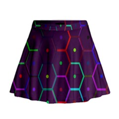 Color Bee Hive Pattern Mini Flare Skirt by Amaryn4rt