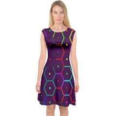 Color Bee Hive Pattern Capsleeve Midi Dress by Amaryn4rt