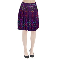 Color Bee Hive Pattern Pleated Skirt by Amaryn4rt