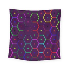 Color Bee Hive Pattern Square Tapestry (small) by Amaryn4rt