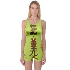Set Of Monetary Symbols One Piece Boyleg Swimsuit by Amaryn4rt
