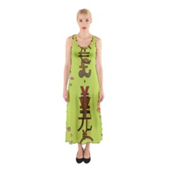 Set Of Monetary Symbols Sleeveless Maxi Dress by Amaryn4rt