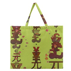 Set Of Monetary Symbols Zipper Large Tote Bag by Amaryn4rt