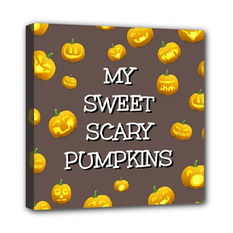 Scary Sweet Funny Cute Pumpkins Hallowen Ecard Mini Canvas 8  X 8  by Amaryn4rt