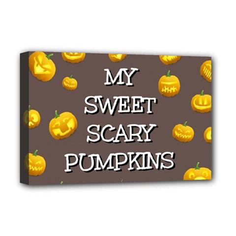 Scary Sweet Funny Cute Pumpkins Hallowen Ecard Deluxe Canvas 18  X 12   by Amaryn4rt