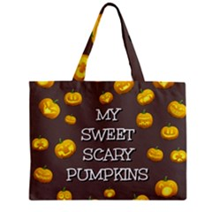 Scary Sweet Funny Cute Pumpkins Hallowen Ecard Zipper Mini Tote Bag by Amaryn4rt