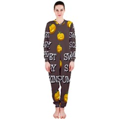 Scary Sweet Funny Cute Pumpkins Hallowen Ecard Onepiece Jumpsuit (ladies)  by Amaryn4rt