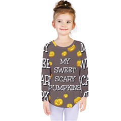 Scary Sweet Funny Cute Pumpkins Hallowen Ecard Kids  Long Sleeve Tee by Amaryn4rt