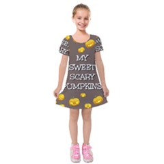 Scary Sweet Funny Cute Pumpkins Hallowen Ecard Kids  Short Sleeve Velvet Dress by Amaryn4rt
