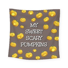 Scary Sweet Funny Cute Pumpkins Hallowen Ecard Square Tapestry (small) by Amaryn4rt