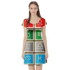 Set Of The Twelve Signs Of The Zodiac Astrology Birth Symbols Short Sleeve Skater Dress by Amaryn4rt