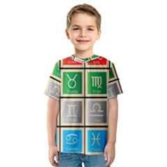 Set Of The Twelve Signs Of The Zodiac Astrology Birth Symbols Kids  Sport Mesh Tee by Amaryn4rt