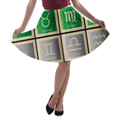 Set Of The Twelve Signs Of The Zodiac Astrology Birth Symbols A-line Skater Skirt by Amaryn4rt