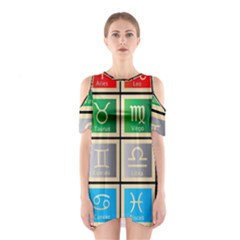Set Of The Twelve Signs Of The Zodiac Astrology Birth Symbols Shoulder Cutout One Piece by Amaryn4rt