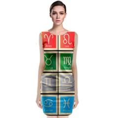 Set Of The Twelve Signs Of The Zodiac Astrology Birth Symbols Classic Sleeveless Midi Dress by Amaryn4rt