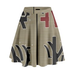 Xia Script On Gray Background High Waist Skirt by Amaryn4rt
