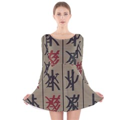 Ancient Chinese Secrets Characters Long Sleeve Velvet Skater Dress by Amaryn4rt