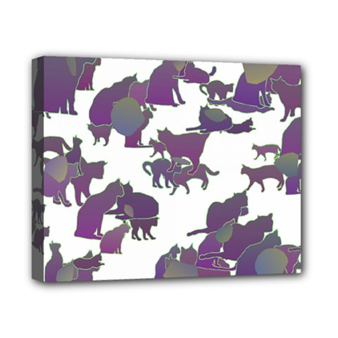 Many Cats Silhouettes Texture Canvas 10  X 8  by Amaryn4rt