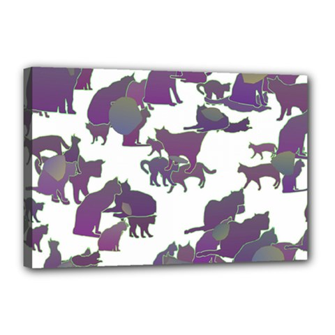 Many Cats Silhouettes Texture Canvas 18  X 12  by Amaryn4rt