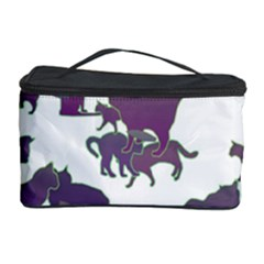 Many Cats Silhouettes Texture Cosmetic Storage Case by Amaryn4rt