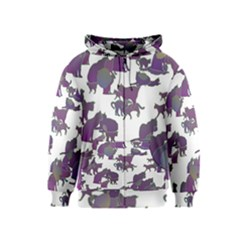 Many Cats Silhouettes Texture Kids  Zipper Hoodie by Amaryn4rt
