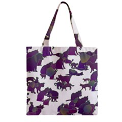 Many Cats Silhouettes Texture Zipper Grocery Tote Bag by Amaryn4rt
