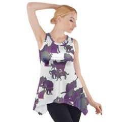Many Cats Silhouettes Texture Side Drop Tank Tunic by Amaryn4rt