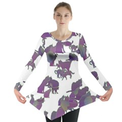 Many Cats Silhouettes Texture Long Sleeve Tunic