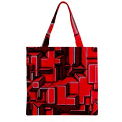 Background With Red Texture Blocks Grocery Tote Bag by Amaryn4rt
