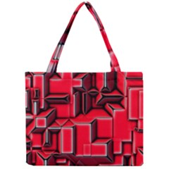 Background With Red Texture Blocks Mini Tote Bag by Amaryn4rt