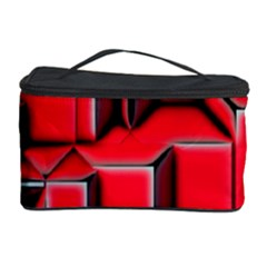 Background With Red Texture Blocks Cosmetic Storage Case by Amaryn4rt
