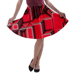 Background With Red Texture Blocks A Line Skater Skirt by Amaryn4rt
