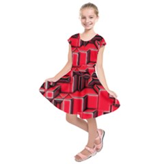Background With Red Texture Blocks Kids  Short Sleeve Dress by Amaryn4rt