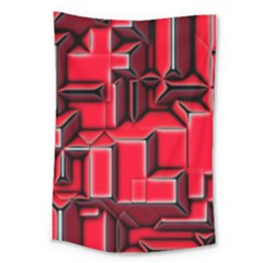 Background With Red Texture Blocks Large Tapestry by Amaryn4rt