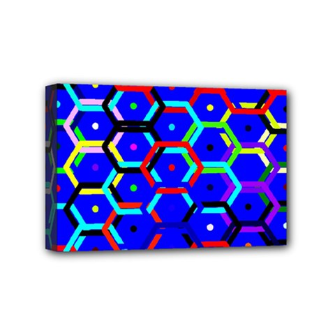 Blue Bee Hive Pattern Mini Canvas 6  X 4  by Amaryn4rt