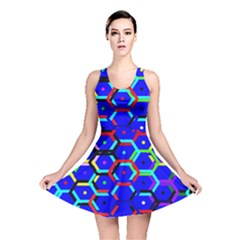 Blue Bee Hive Pattern Reversible Skater Dress by Amaryn4rt
