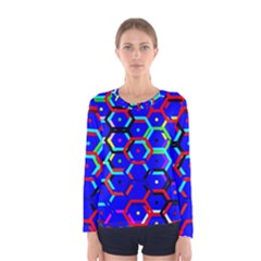 Blue Bee Hive Pattern Women s Long Sleeve Tee by Amaryn4rt