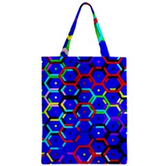 Blue Bee Hive Pattern Zipper Classic Tote Bag by Amaryn4rt
