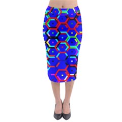 Blue Bee Hive Pattern Midi Pencil Skirt by Amaryn4rt