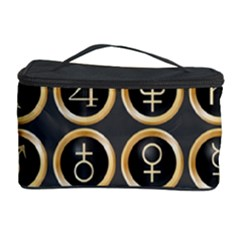 Black And Gold Buttons And Bars Depicting The Signs Of The Astrology Symbols Cosmetic Storage Case by Amaryn4rt