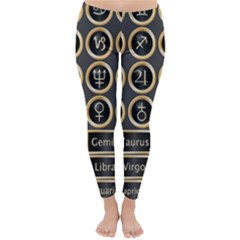 Black And Gold Buttons And Bars Depicting The Signs Of The Astrology Symbols Classic Winter Leggings by Amaryn4rt