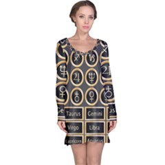 Black And Gold Buttons And Bars Depicting The Signs Of The Astrology Symbols Long Sleeve Nightdress by Amaryn4rt