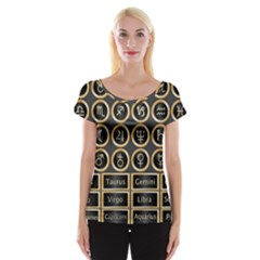 Black And Gold Buttons And Bars Depicting The Signs Of The Astrology Symbols Women s Cap Sleeve Top by Amaryn4rt