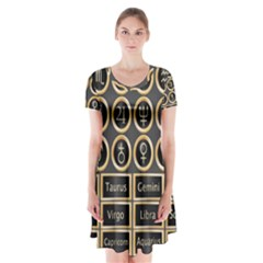 Black And Gold Buttons And Bars Depicting The Signs Of The Astrology Symbols Short Sleeve V Neck Flare Dress by Amaryn4rt