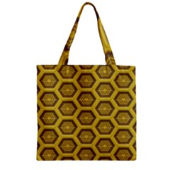 Golden 3d Hexagon Background Zipper Grocery Tote Bag by Amaryn4rt